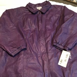 Purple genuine leather coat. New with tags